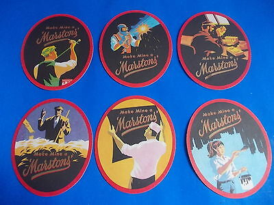 MARSTONS - Make Mine A - 6x Oval beer coasters mats MINT CONDITION 6