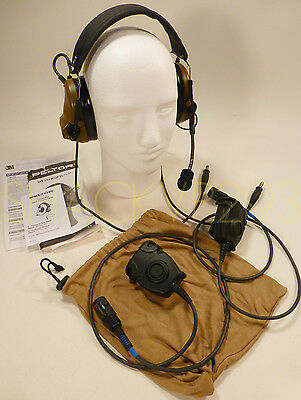3M Peltor Comtac Ach Dual Mic Military Communication Headset Ptt Set Complete