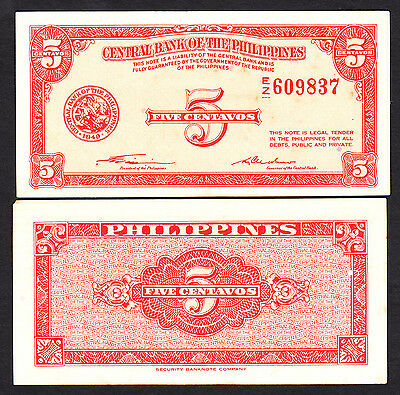 Philippines 1949 5 Centavos P. 125 Printer SBNC Crisp EF+ Note