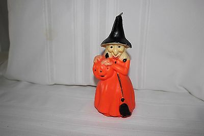 Vintage Large halloween Gurley Witch Pumpkin Candle Broome Jack O Lantern 8 Inch