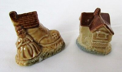 Wade Whimsies 2 Pieces Jack Moxx And Old Woman & Shoe Nursery Rhyme Red Rose Tea