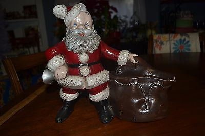 ~ Heavy Vintage Plaster Glazed Painted Christmas Santa With Sack Doorstop Home ~