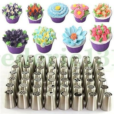 106 Pcs Russian Flower Cake Decoration Tips Icing Piping Nozzles Baking Tools