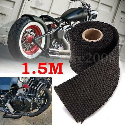 5FT 1.5M Exhaust Header Pipe Heat Wrap Manifold Turbo Insulation Roll Tape Black