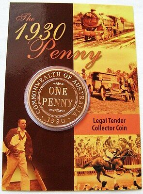 2007 Legal Tender Collector Coin - Enlarged 1930 One Penny (1d) Coin on Card