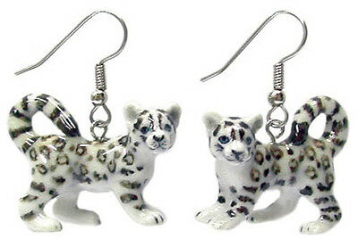 New NORTHERN ROSE Porcelain Earrings SNOW LEOPARD Figurine Figure Jewelry RARE