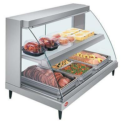 "Hatco GRCDH-3PD-120-QS 45.5""W Curved Glass Dual Shelf Display Case w/ Humidity"