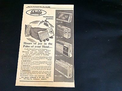 1958 Rare Original Advertising for Sharp Transistor Radios