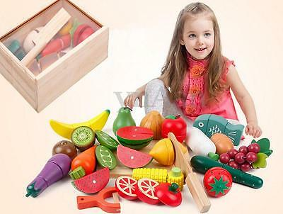 8pc Kids Pretend Role Play Kitchen Fruit Vegetable Food Toy Child Wooden Cutting