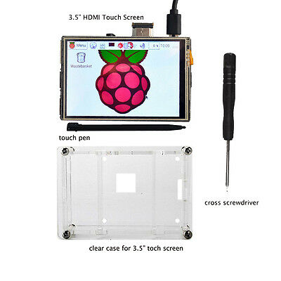 """3.5"""" HDMI Touch Screen LCD Display+clear case for Raspberry Pi 2 3 1080P"""