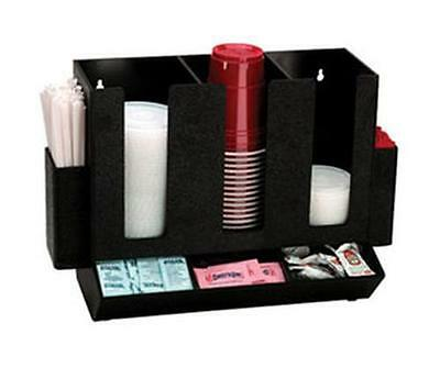 Dispense-Rite HLCO-3BT Countertop Cup, Lid, Straw, and Condiment Organizer Black