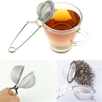 New Stainless Steel Spoon Tea Ball Herb Mesh Infuser Filter Squeeze Strainer IP