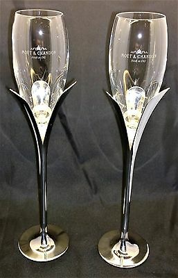 """Pair of Stunning Moet Chandon Chrome Lily Glasses """"Extremely Rare"""""""