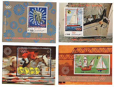 1972 YEMEN 6 x Mini Sheet Olympics & Winter Job Lot Perf & Imperf MUNICH KIEL