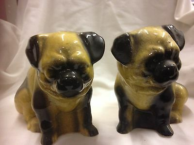 Pair Staffordshire Dogs Pugs Victorian