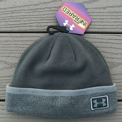 NWT UNDER ARMOUR ColdGear Infrared Boys Sideline Lined Beanie Hat-OSFM @$25 GRAY