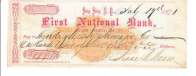 Antique  Check First National Bank, Sing Sing, Ny 1871  With Revenue