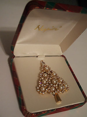 Old  Rhinestone & Pearl  Christmas  Tree  Pin   - Signed  NAPIER