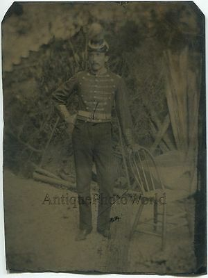 Officer soldier in amazing uniform by chair outdoors rare antique tintype photo