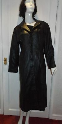Vintage Black Soft Lambs LEATHER Goth Long Trench Coat size 12 ? - 36 inch bust