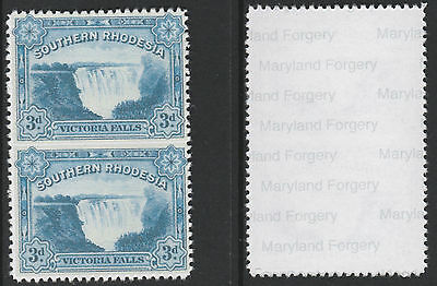 S Rhodesia (734) 1932 FALLS 3d pair IMPERF BETWEEN  a Maryland FORGERY unused