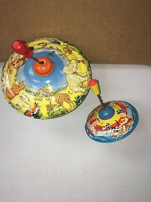 2 Vintage Tin Plate Spinning Toys Made In Western Germany And England