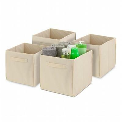 Honey-Can-Do SFTZ02115 4 Pack Non-Woven Foldable Cube Natural