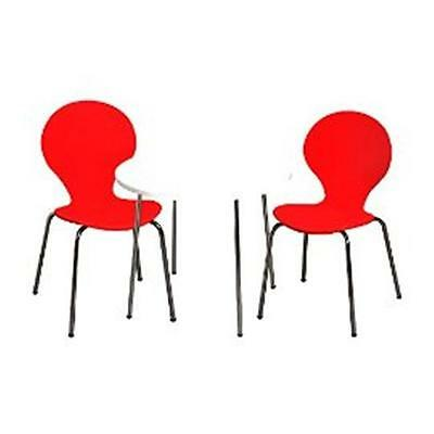 Giftmark 3012R Modern Childrens Table and 2 Chair Set with Chrome Legs Red