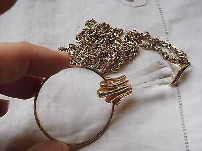 Lovely Vintage 198s Ladies Magnifying Glass Necklace