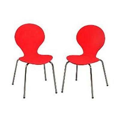 Giftmark 3013R Modern Childrens 2 Chair Set with Chrome Legs Red