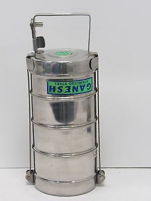 Ganesh Stainless Steel Tiffin 4 Tier Sections Indian Lunchbox - BAR L19