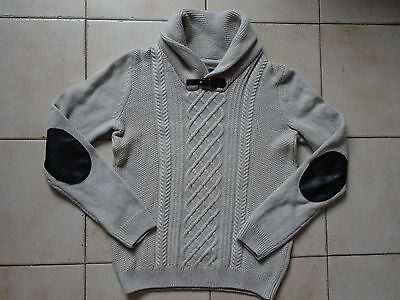 Pull beige homme col chale & laine   BRICE    - Taille S