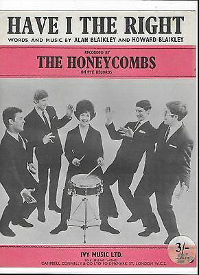 1964 Sheet Music The Honeycombs - Have I The Right