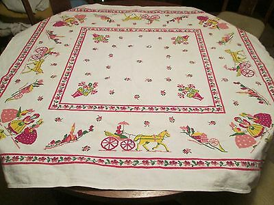 """Vintage Floral & Scenery Stamped Card Tablecloth/50 x 44"""""""