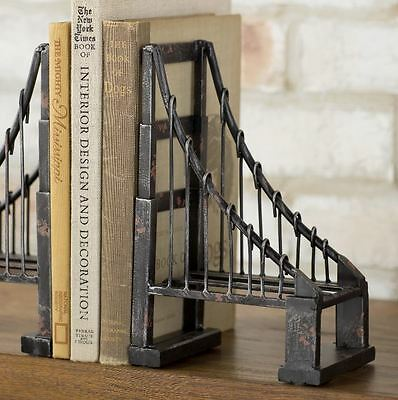 Suspension Metal Book Ends Set Industrial Vintage Iron Library Art Cast Iron