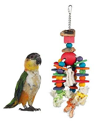 Trixie Colourful Wooden Bead & Block Parrot Cage Toy Preening Rope Bark 58986