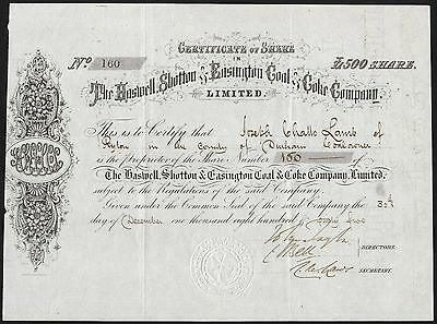 Durham: Haswell, Shotton & Easington Coal & Coke Co. Ltd., £500 share, 1865