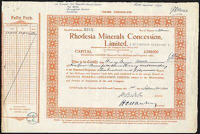 Rhodesia Minerals Concession Ltd., 2/6d shares, 1934