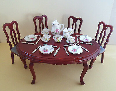 Dolls house Miniature Dining Table and Chairs with FREE Tea Set & cutlery ~ 1:12