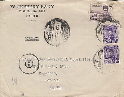 Egypt. War Time  Air Mail Cover To London With 3 Stamps