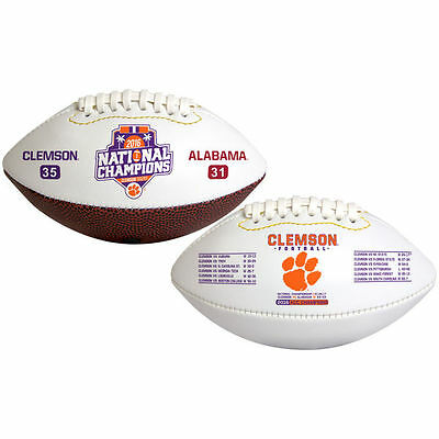 Clemson Tigers Champions Full Size White NCAA Football NEW 2016 CHAMPS IN STOCK