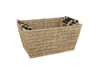 JVL Rectangular Nested Seagrass Large Storage Baskets, Set of 3