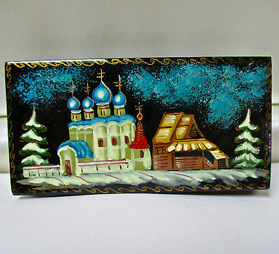 Vintage Russian Papier Mache Hinged Trinket Box