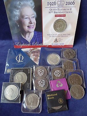 15 various GB commemorative crowns - mainly in wallets ##OUN76BBS