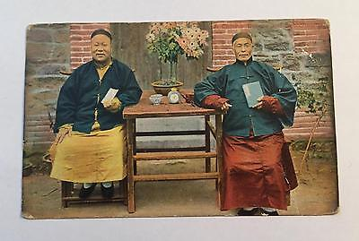 China  Chinese Deacon & Schoolmaster - Rare Coloured Postcard Stamp 1915