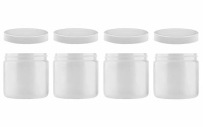 Set Of 4 Wide Mouth 16 oz Food Safe Jars With Pressure Seal Lids HDPE Plastic