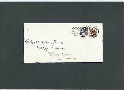 GB Late Fee 1894 QV 1d lilac + 1/2d Envelope S.W 59 LONDON Duplex to Atherstone