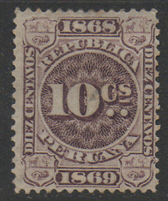 1868-9, 10c purple/brown Peru Fiscal, Revenue, Cinderella.