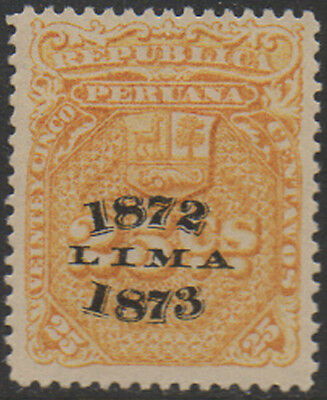 1872-3, 25c yellow with LIMA o/print  Peru Fiscal, Revenue, Cinderella.