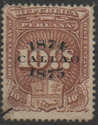 1874-5, 10c brown with CALLAO o/print  Peru Fiscal, Revenue, Cinderella.